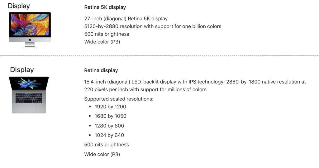 iMac 5KとMacBook Pro 15インチモデルの液晶スペック