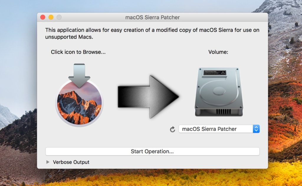 macOS High Sierra Patcherを起動したところ。