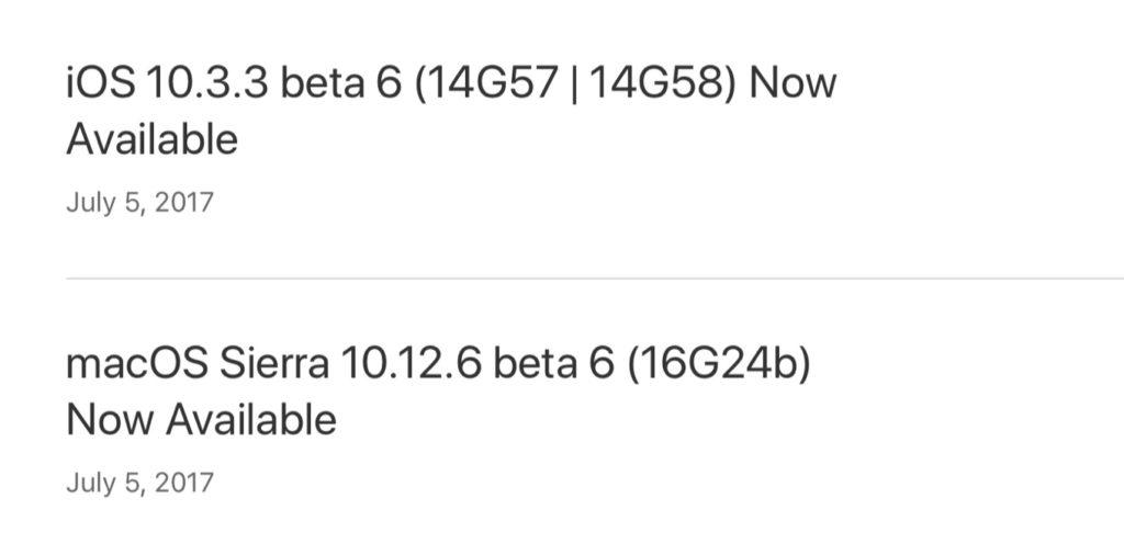 macOS Sierra 10.12.6 beta 2のリリース
