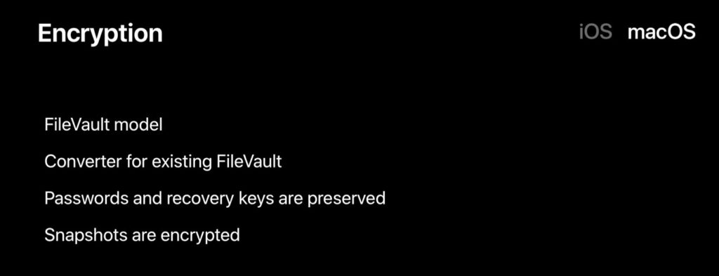 APFSでサポートされるFileVault