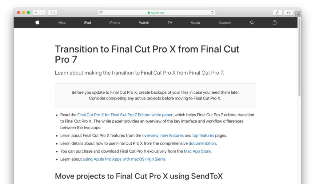 Transition to Final Cut Pro X from Final Cut Pro 7のサポートページ
