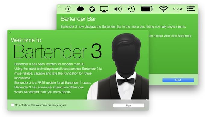Bartender v3のWelcome画面