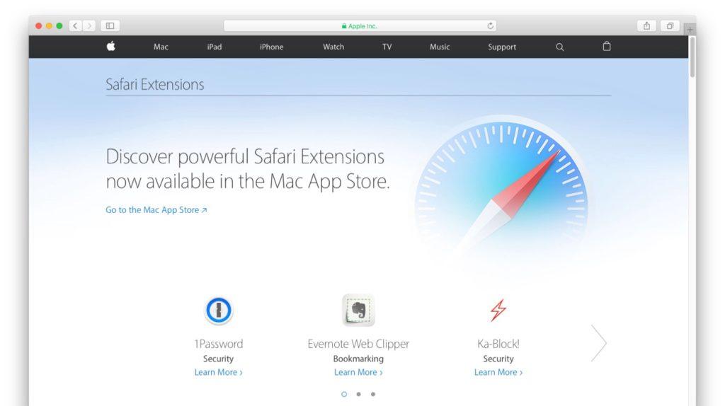 Web版のSafari Extensions Gallery