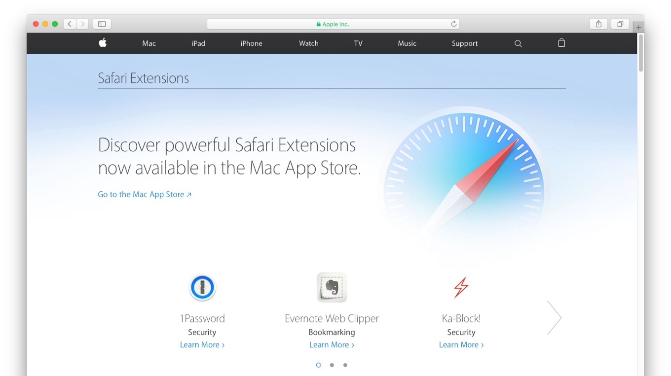 Web版のSafari Extensions Gallery