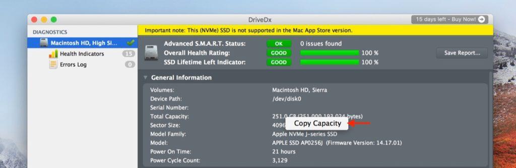 DriveDx v1.6のコピー機能