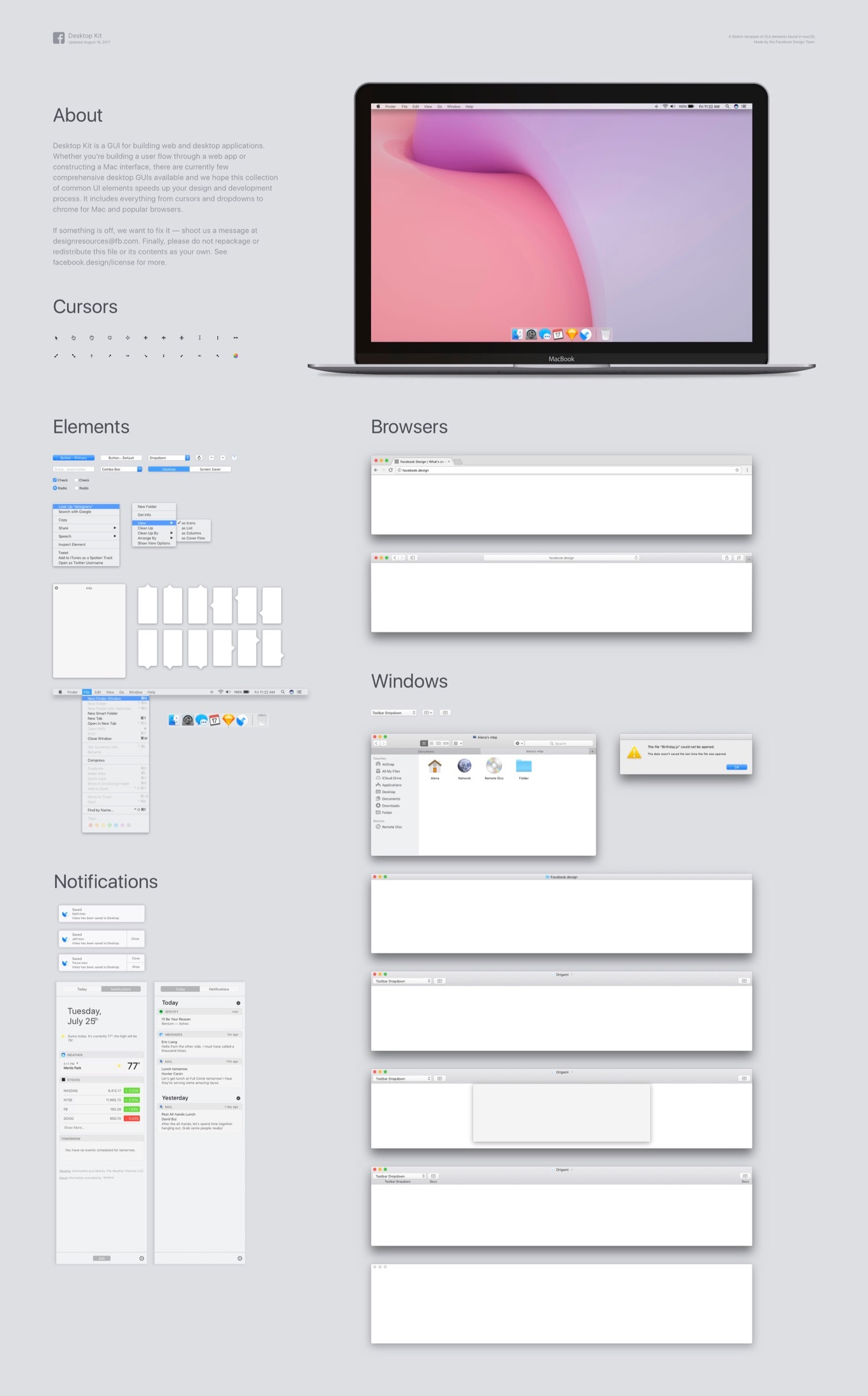 facebook design macosのui elementを再現したsketch用テンプレート