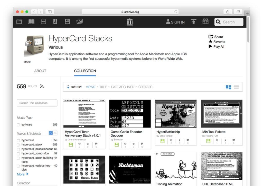 Internet Archiveが公開したHyperCardのスタック