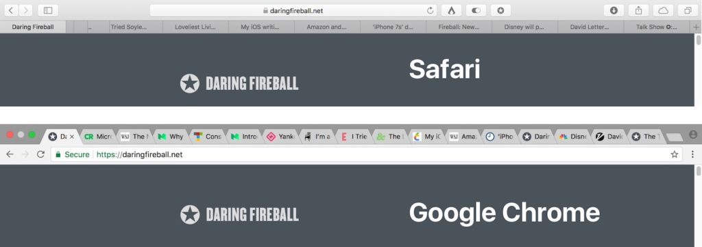 SafariとGoogle Chromeのタブ比較