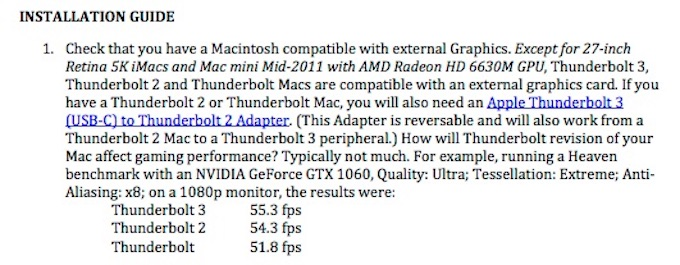 SonnetのeGFX macOS 10.12 Sierra インストールガイド