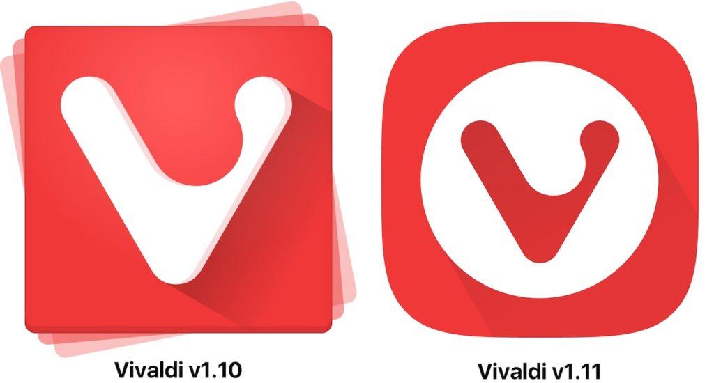Vivaldi v1.10とv1.11のアイコン