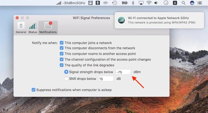 Wi-Fi SignalアプリでRSSIのチェック
