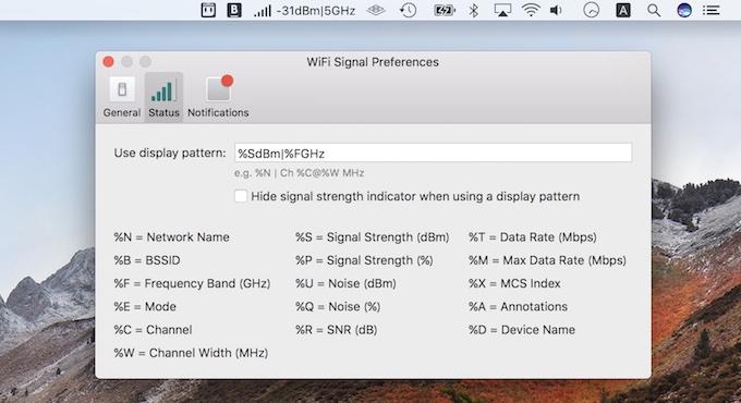 Wi-Fi Signalアプリのメニューバー機能
