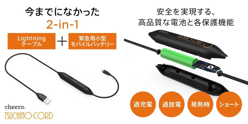 cheero Tsuchino-cord 450mAhのデザイン