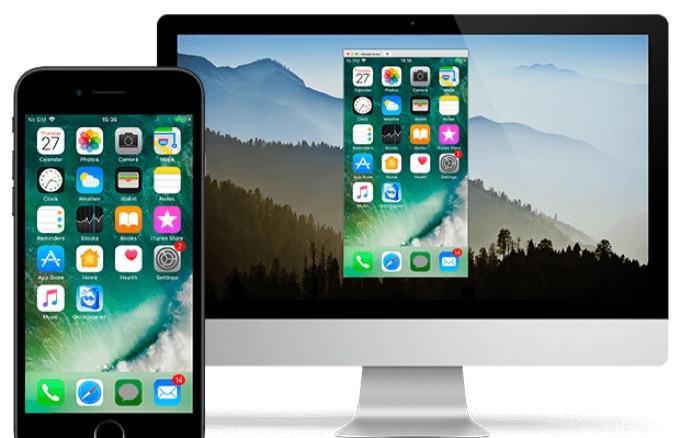 iOS 11のiPhoneからMacに画面共有した図。