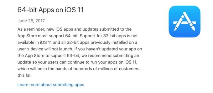 iOS 11で32bitアプリの終了