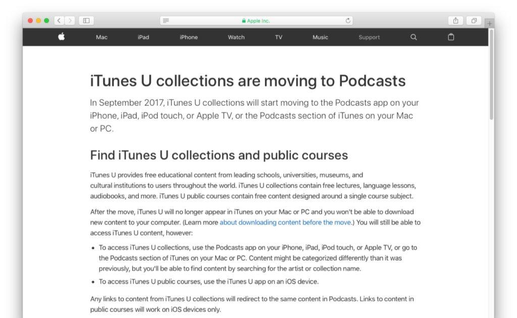 Apple、2017年9月中に「iTunes U」のコレクションをPodcastへ移動すると