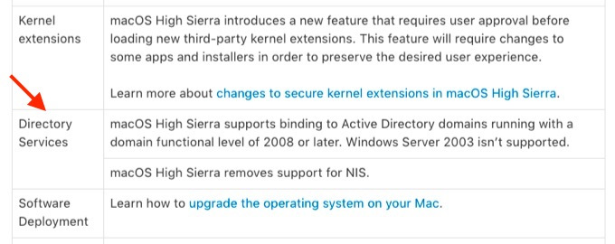 macOS High Sierra removes support for NIS.