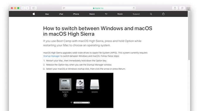 How to switch between Windows and macOS in macOS High Sierra