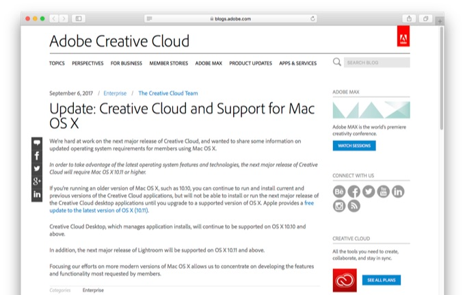Update: Creative Cloud and Support for Mac OS X - Creative Cloud blog by Adobe