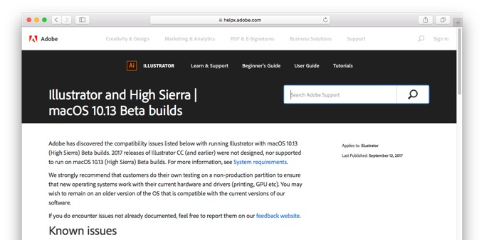 Adobe IllustratorのmacOS 10.13 High Sierraでの不具合