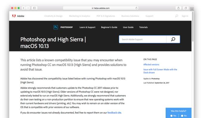 Adobe Photoshopで発生しているHigh Sierraお不具合