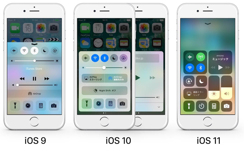 iOS 9からiOS 11までのコントロールセンター