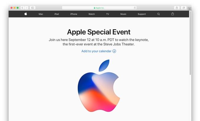 2017年09月12日午前10時より開催されるApple Special Eventの案内