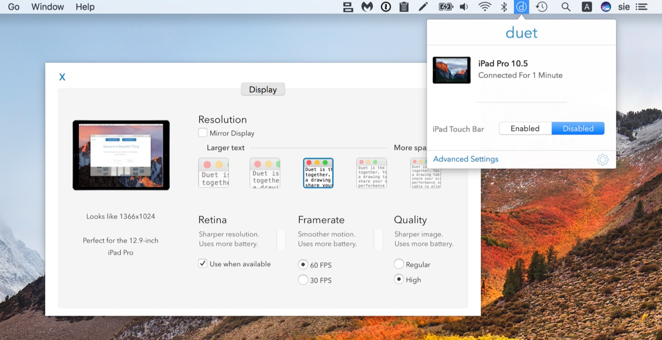 Duet Display for Mac New UI