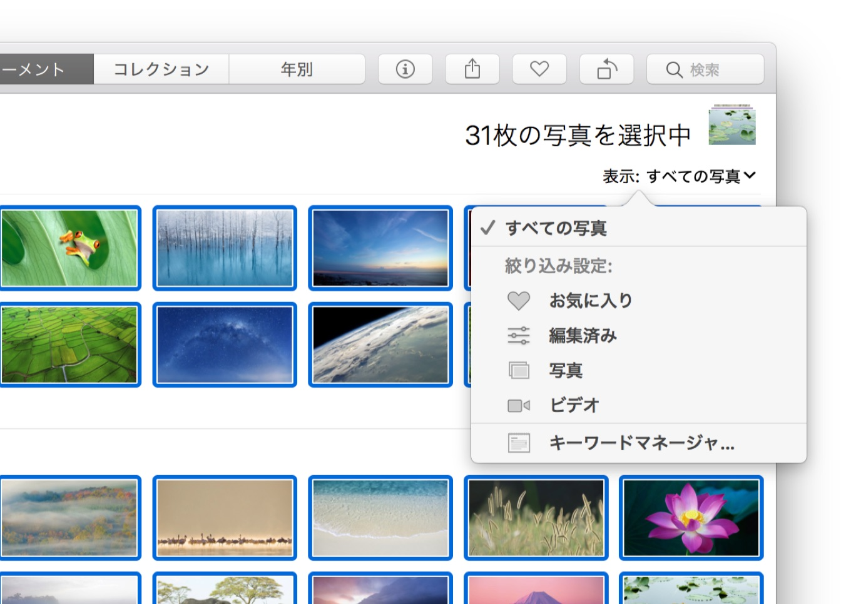 High Sierraの写真アプリのフィルタリング