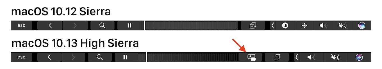 PinPボタンが追加されたHigh SierraのTouch Bar
