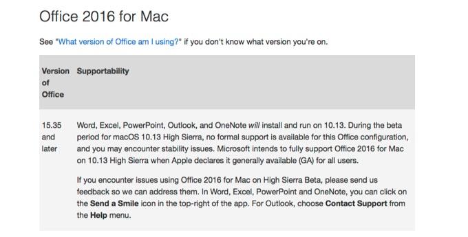 MicrosoftがOffice 2016 for MacをHigh Sierraでフルサポートすると発表