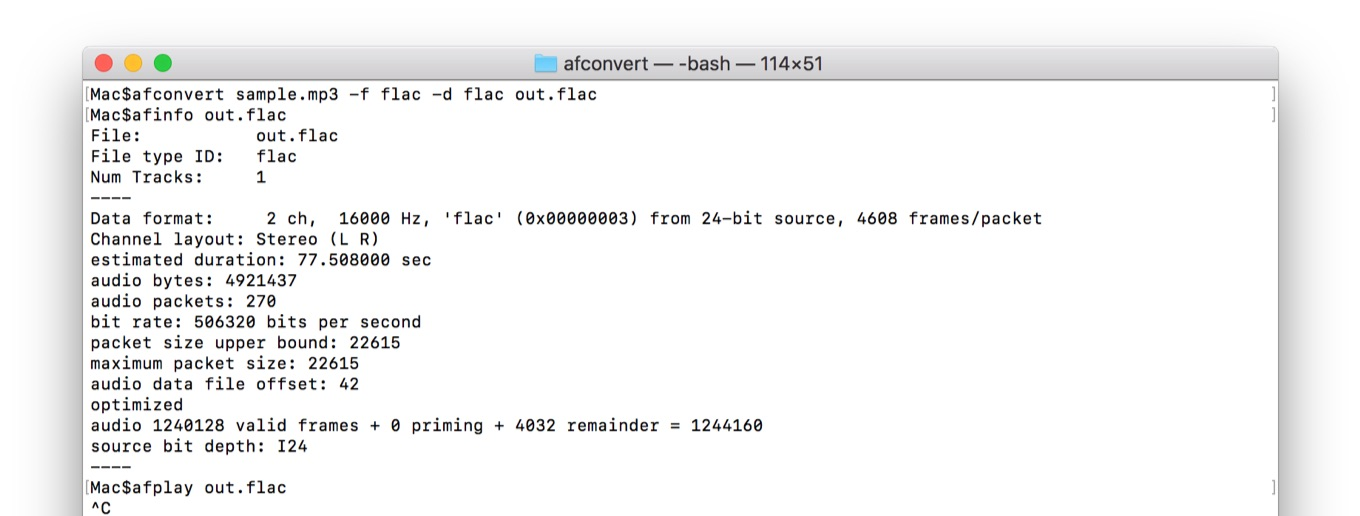 afconvertからafinfo, afplayをHigh Sierraで