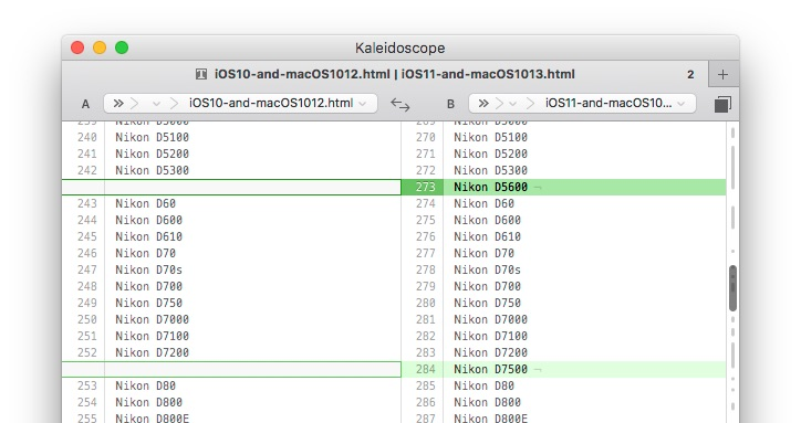 iOS10とiOS11のRAWサポートのdiff