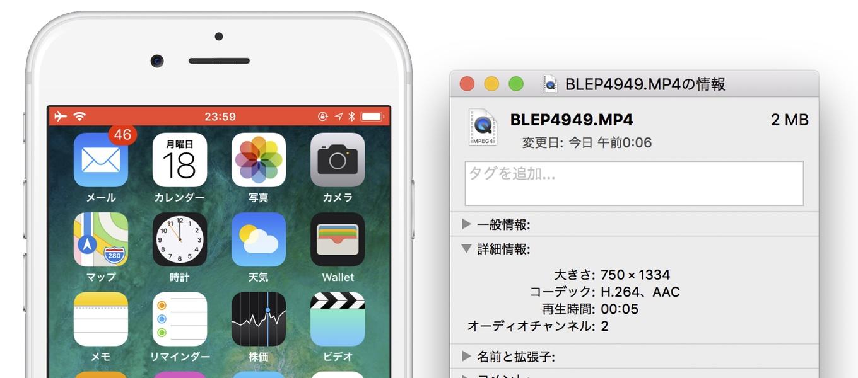 iOS 11の画面収録機能を利用して出力したファイル