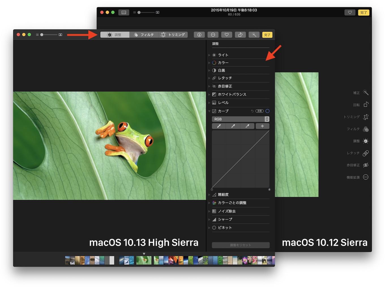 High Sierraの写真アプリの編集機能