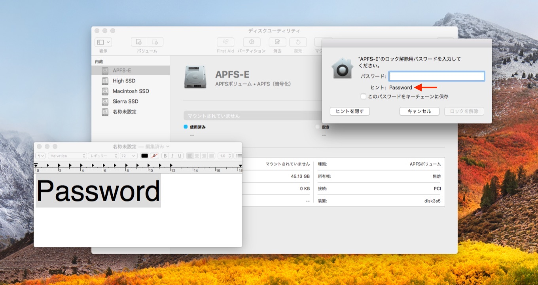 暗号化されたAPFSのパスワードがディスクユーティリティに表示されてしまう不具合