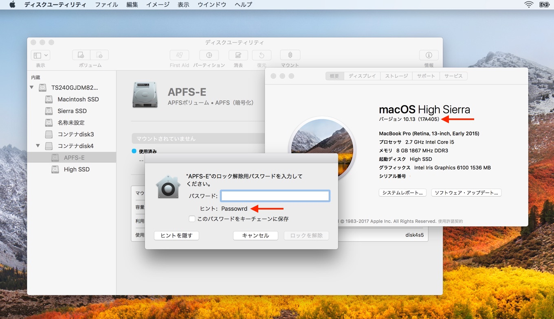 macOS High Sierra 10.13追加アップデート後も表示可能なパスワードヒントのパスワード