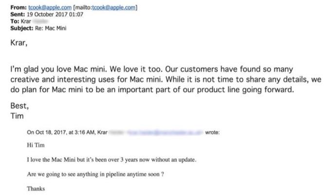 Tim Cook CEOからのMac miniについてのメール