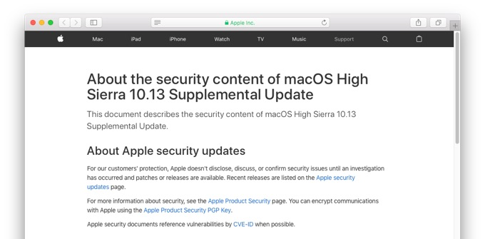 About the security content of macOS High Sierra 10.13 Supplemental Update