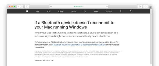 If a Bluetooth device doesn't reconnect to your Mac running Windows