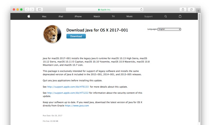 Download Java for OS X 2017-001