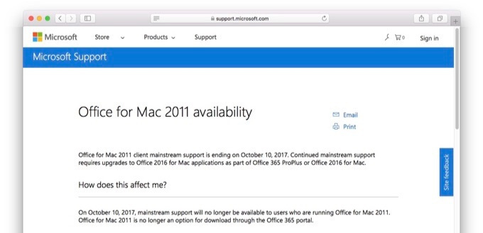 Office for Mac 2011 availability