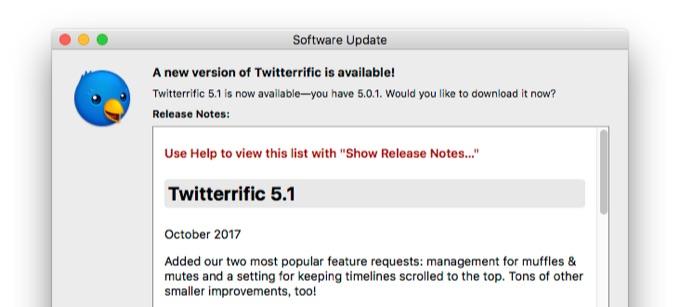 Twitterrific v5.1のリリースノート