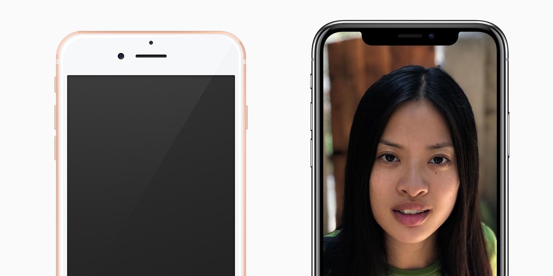 iPhone 8とXのフロントカメラ