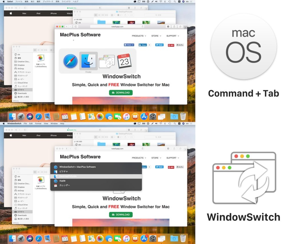 macOSのAppSwitcherとMacPlus SoftwareのWindowSwitch