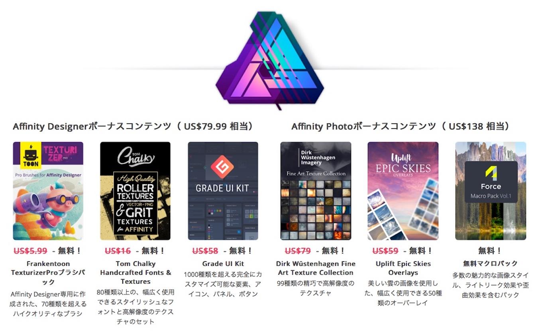 Affinity Photo/Designer用のボーナスコンテンツ