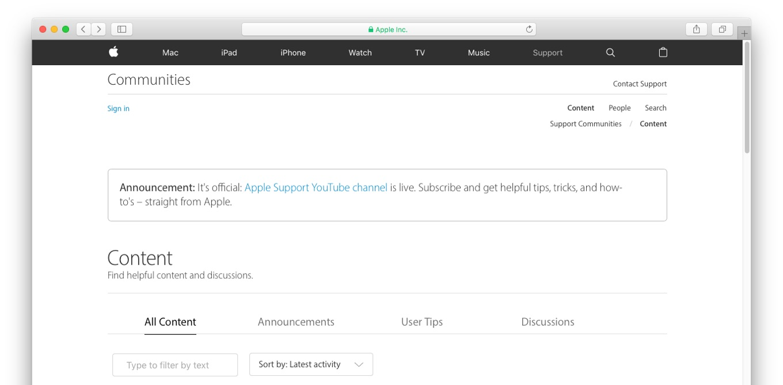 Apple Support公式のYouTubeチャンネル