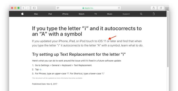 iOS 11以降で発生している「i」文字化け