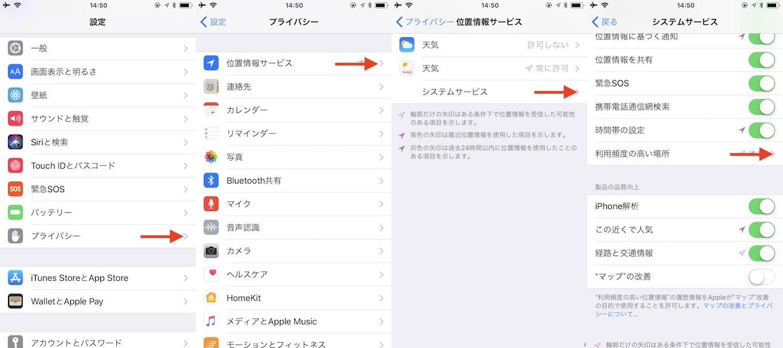 iOS 11の位置情報を消去する方法。
