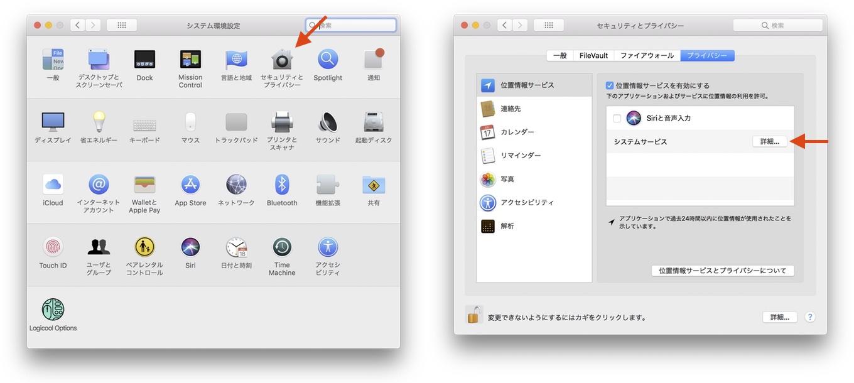 macOS 10.13 High Sierraの利用頻度の高い位置情報
